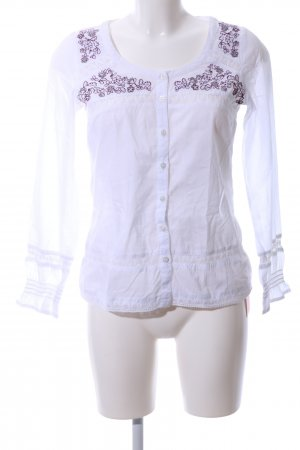 Linea Tesini Rüschen-Bluse weiß Blumenmuster Casual-Look