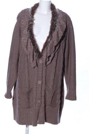Linea Tesini Strick Cardigan braun meliert Vintage-Look