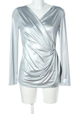 Linea Tesini V-Ausschnitt-Shirt silberfarben Elegant
