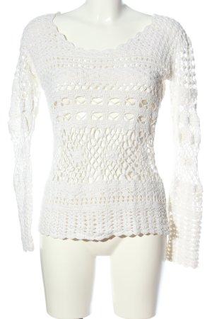 Linea Tesini Warkoczowy sweter biały W stylu casual