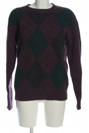 linea uomo globus Wollpullover lila-grün grafisches Muster Casual-Look