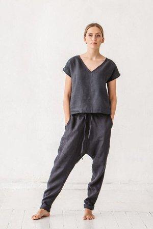 Linenfox Pantalón estilo Harem multicolor Lino