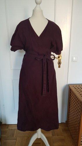 Linenfox Kopertowa sukienka Wielokolorowy Len