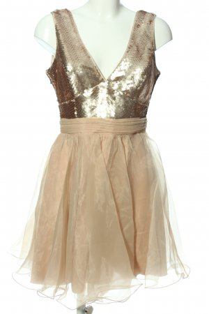 Lipsy A-Linien Kleid braun-creme Glanz-Optik
