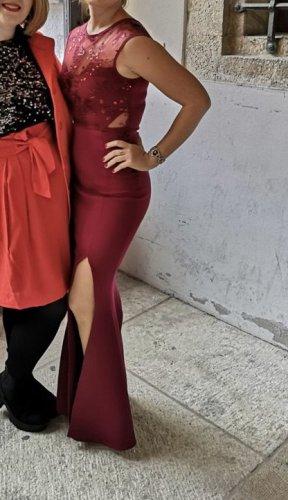 Lipsy Abendkleid 34 XS Bordeaux Maxi