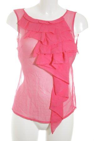 Lipsy ärmellose Bluse pink Transparenz-Optik