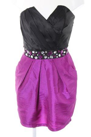 Lipsy Vestido bustier negro-rosa elegante