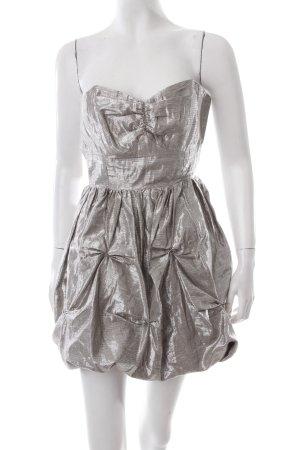 Lipsy Vestido corte imperio color plata look efecto mojado
