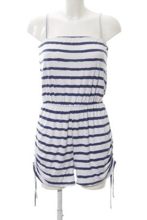Lipsy Jumpsuit weiß-blau Streifenmuster Casual-Look