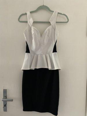 Lipsy Vestito peplo nero-bianco