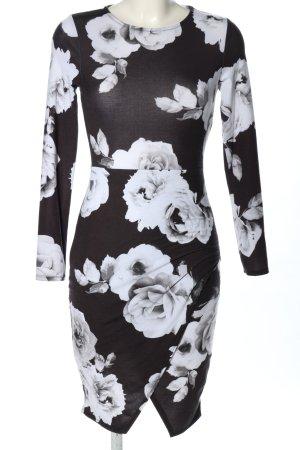 Lipsy Abito a maniche lunghe nero-bianco motivo floreale stile casual