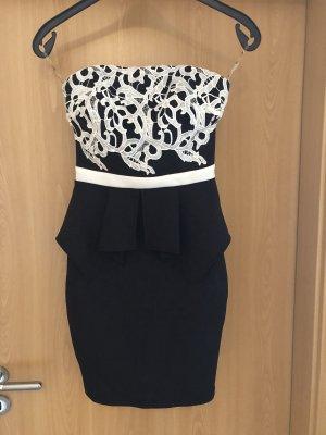 Lipsy Sukienka z dekoltem typu bandeau czarny-biały Poliester