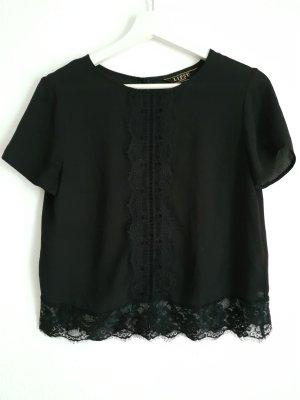 lipsy london Koronkowa bluzka czarny