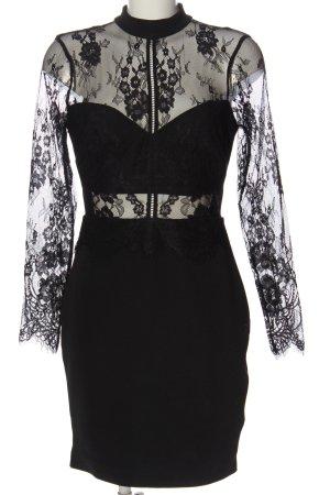 lipsy london Langarmkleid schwarz Blumenmuster Elegant