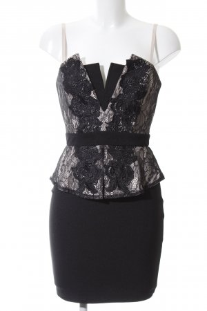 Lipsy Minikleid schwarz-wollweiß Blumenmuster Elegant
