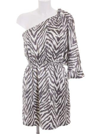 Lipsy One-Shoulder-Kleid dunkelgrau-weiß Streifenmuster Party-Look