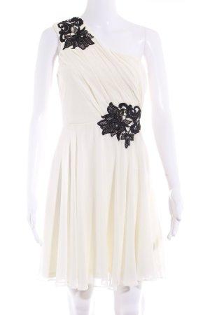 Lipsy One-Shoulder-Kleid hellbeige-schwarz Spitzenbesatz