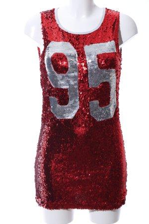 Liquor N Poker Minikleid rot-silberfarben Schriftzug gedruckt extravaganter Stil