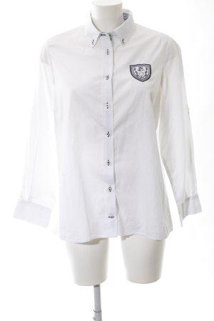 Lisa Campione Hemd-Bluse weiß Schriftzug gedruckt Business-Look