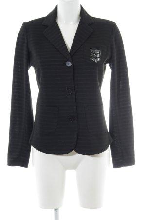 Lisa Campione Jerseyblazer schwarz-grau Streifenmuster Elegant