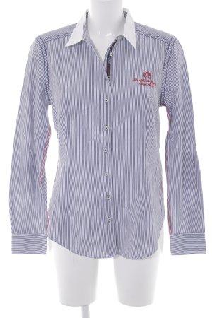Lisa Campione Langarmhemd graublau-wollweiß Streifenmuster Business-Look
