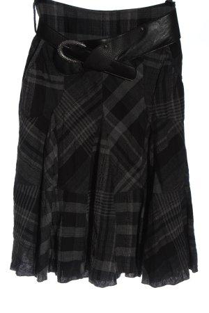 Lisa Campione Spódnica midi czarny-jasnoszary Wzór w kratkę W stylu casual