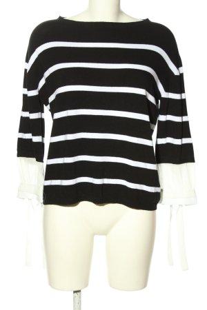 Lisa Campione Crewneck Sweater black-white striped pattern casual look