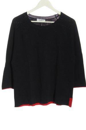 Lisa Campione Gebreide trui blauw-rood casual uitstraling