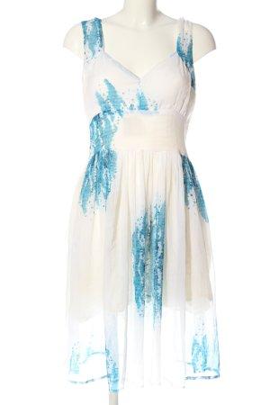 lisa malo Sukienka z halką biały-niebieski Abstrakcyjny wzór W stylu casual