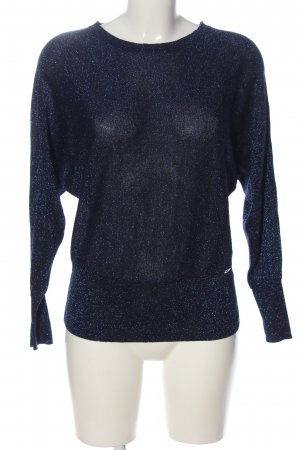 Lisa Tossa Pull en maille fine bleu moucheté style extravagant