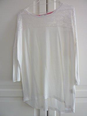 LISA TOSSA Shirt creme mit Spitzendetails Bluse mit Spitzenpasset Fledermausärmel creme L 42 44 NEU Lieblingsshirt musthave