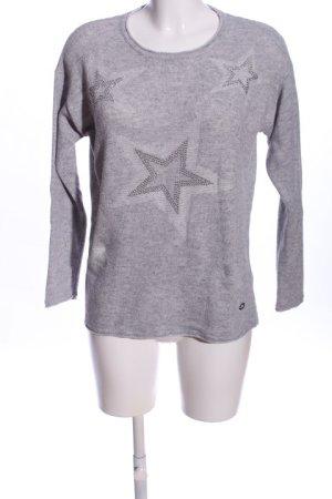 Lisa Tossa Warkoczowy sweter jasnoszary Melanżowy W stylu casual