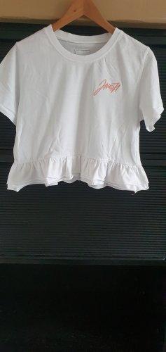 Lisa und Lena / J1MO71 Weisses T-Shirt mit Voillant und Stickerei Gr. L