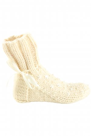 Lisbeth dahl Slipper Socks natural white cable stitch casual look