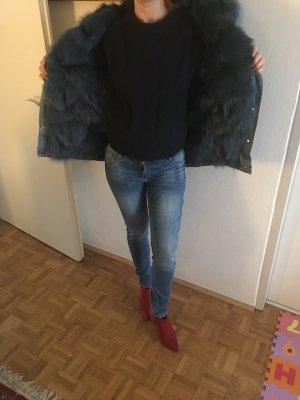 Liska Jeansmantel mit Fuchsfell