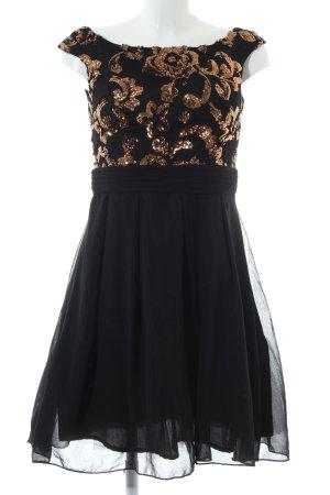 Little Mistress Abendkleid schwarz-goldfarben Blumenmuster Elegant
