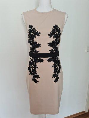 Little Mistress elegantes Kleid Spitzenkleid in beige schwarz Gr. 40