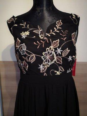 Little Mistress Kleid 42 schwarz Maxikleid Chiffonkleid Abendkleid