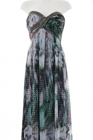 Little Mistress Maxikleid grün-lila abstraktes Muster Elegant