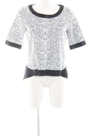 Liu jeans Camicetta a maniche corte bianco-nero motivo animale stile stravagante