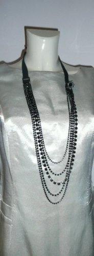 Liu Jo Accessoires Glam Halskette Necklace Strass 5reihig am Band Schwarz