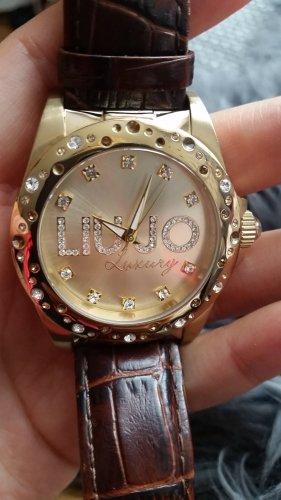 Liu jo Zegarek ze skórzanym paskiem złoto-brązowy