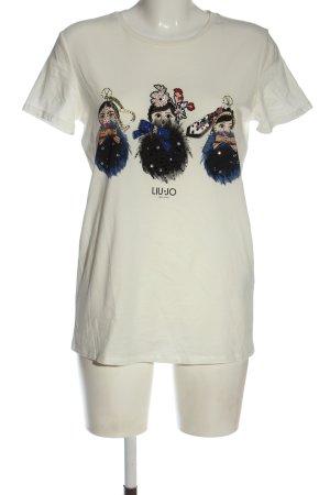 Liu jo T-shirt biały-czarny Nadruk z motywem W stylu casual