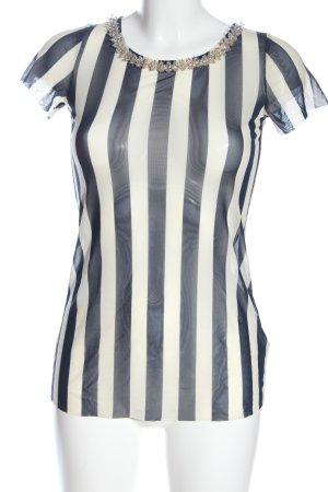 Liu jo Mesh Shirt white-blue striped pattern elegant