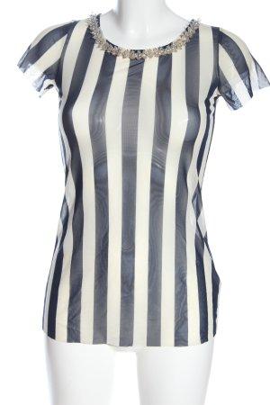Liu jo Netzshirt weiß-blau Streifenmuster Elegant