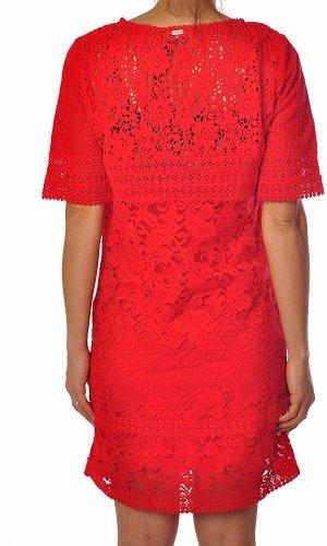 Liu-Jo  Neues Kurzärmliges Spitzen Kleid Kirschrot Gr. 44 IT DE 38 NP 299€