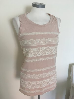 Liu Jo Shirt Top Bluse rosa rose nude weiß Spitze 36 S