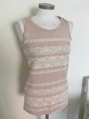 Liu Jo Shirt Top Bluse rosa weiß Spitze 36 S