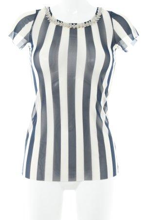 Liu jo T-Shirt creme-dunkelblau Streifenmuster extravaganter Stil