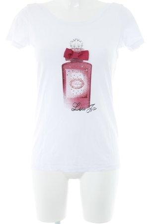 Liu jo T-Shirt weiß-pink platzierter Druck Casual-Look